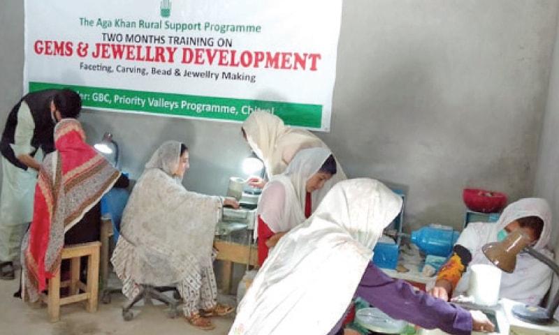 Women get training in jewellery making in Garam Chashma, Chitral. — Dawn