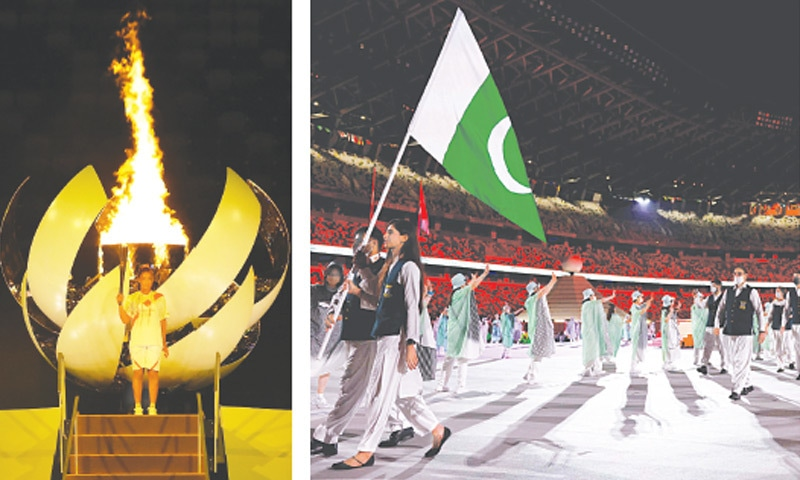 Tokyo: Naomi Osaka of Japan holds the Olympic torch after lighting the Olympic cauldron at the opening ceremony on Friday. (right) Pakistan's flag-bearers Mohammad Khalil Akhtar (left) and Mahoor Shahzad lead their delegation at the ceremony.—Reuters / AFP