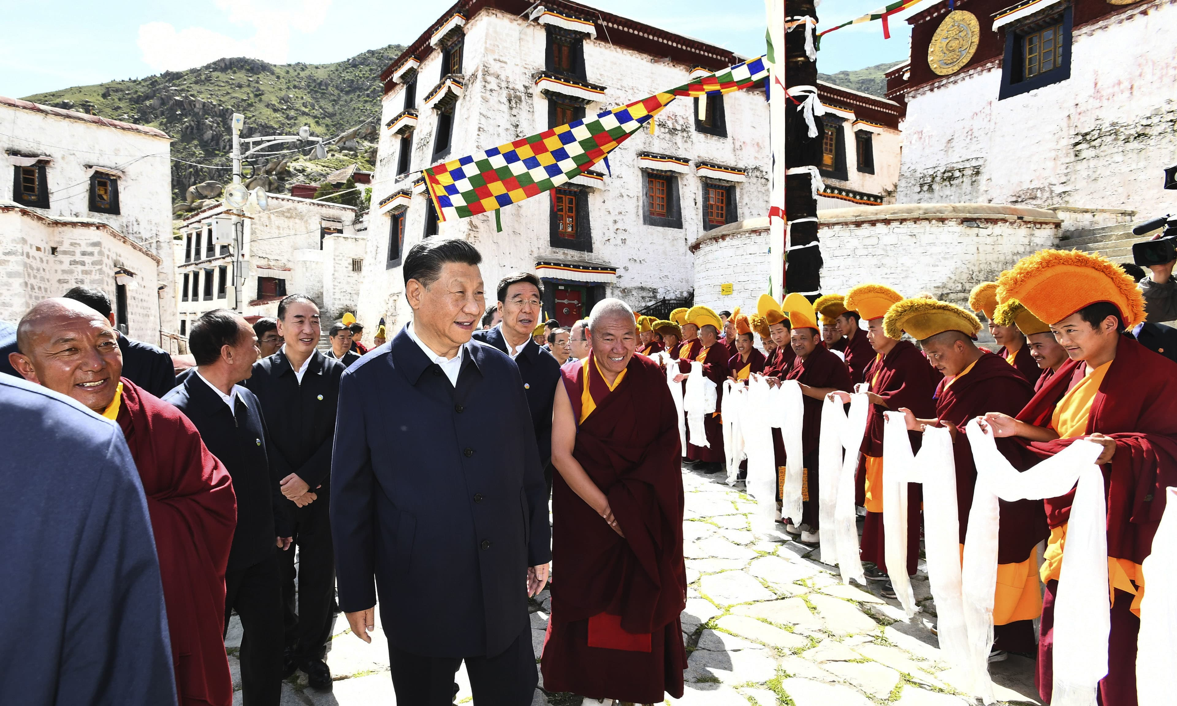 Chinese President Xi Jinping visits the Drepung Monastery located in the western suburbs of Lhasa, southwestern China's Tibet region on Thursday. — AP