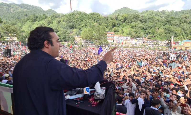 PPP Chairperson Bilawal Bhutto-Zardari addresses a rally in Muzaffarabad on Friday. — Photo courtesy PPP Media Cell