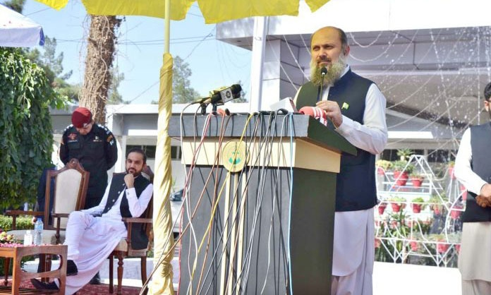 In this file photo, Balochistan Chief Minister Jam Kamal Khan Alyani addresses a ceremony in Quetta. — APP