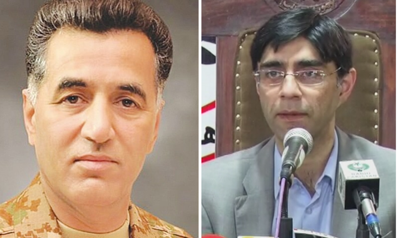 This combination file photo shows Inter-Services Intelligence (ISI) Director General Lt Gen Faiz Hameed (L) and National Security Adviser Moeed Yusuf (R). — DawnNewsTV/ISPR
