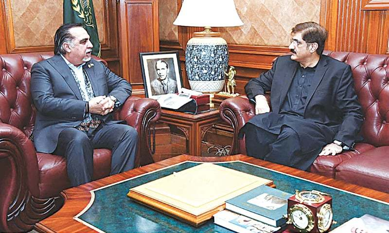 In this file photo, Sindh Chief Minister Syed Murad Ali Shah calls on Governor Imran Ismail in the Governor House. — APP