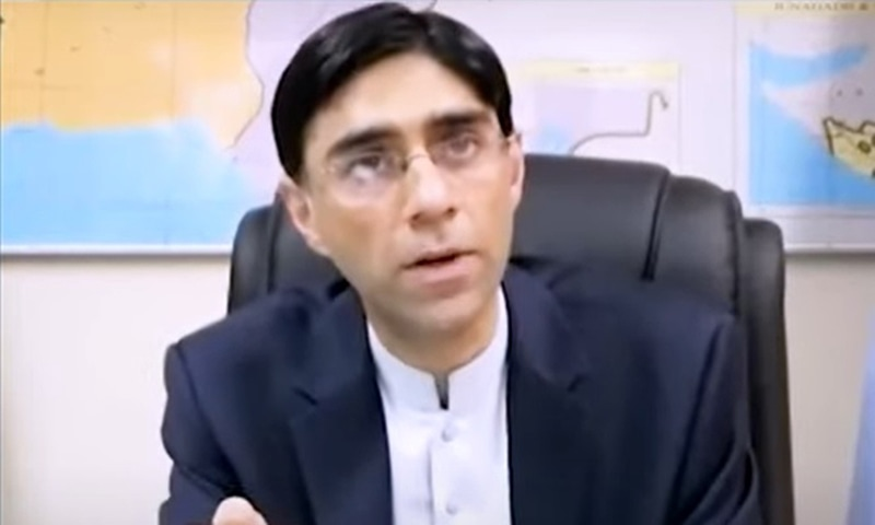 """Moeed Yusuf says India has to cease perpetrating terrorism against Pakistan """"for us to know it is sincere"""". — Screengrab from The Wire interview"""