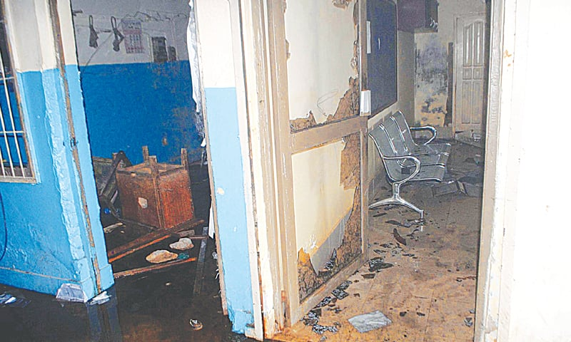 THE ransacked office and furniture of Hesco in Latifabad. — Dawn