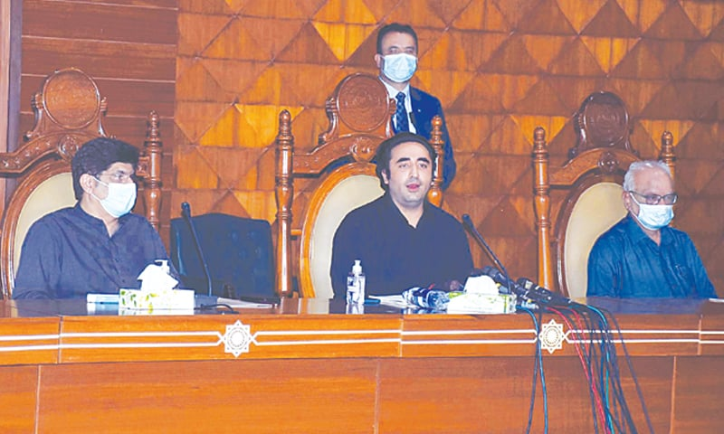 Bilawal Bhutto-Zardari, accompanied by the Sindh chief minister, speaks in the provincial assembly auditorium on Saturday.—PPI
