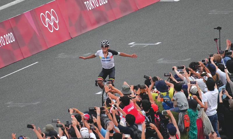 OYAMA: Richard Carapaz of Ecuador celebrates after winning the men's cycling road race title at the Fuji International Speedway on Saturday.—AP