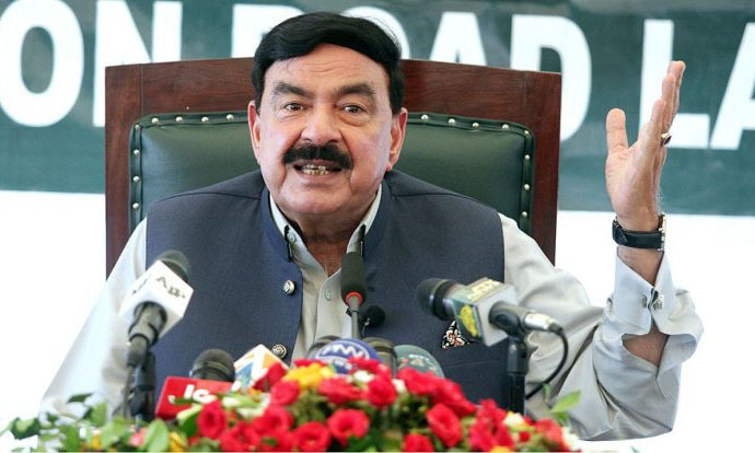 Interior Minister Sheikh Rashid address a press conference in Lahore on Saturday. — APP