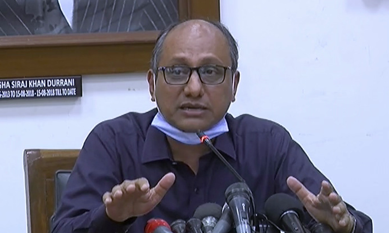 Sindh Education Minister Saeed Ghani addresses a press conference in Karachi. — DawnNewsTV/File