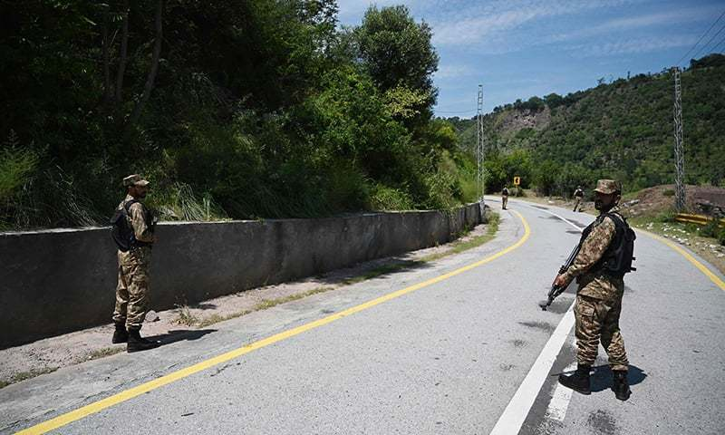 Pakistani troops patrol near the Line of Control (LoC) in Chakothi sector, in Azad Jammu and Kashmir. — AFP/File