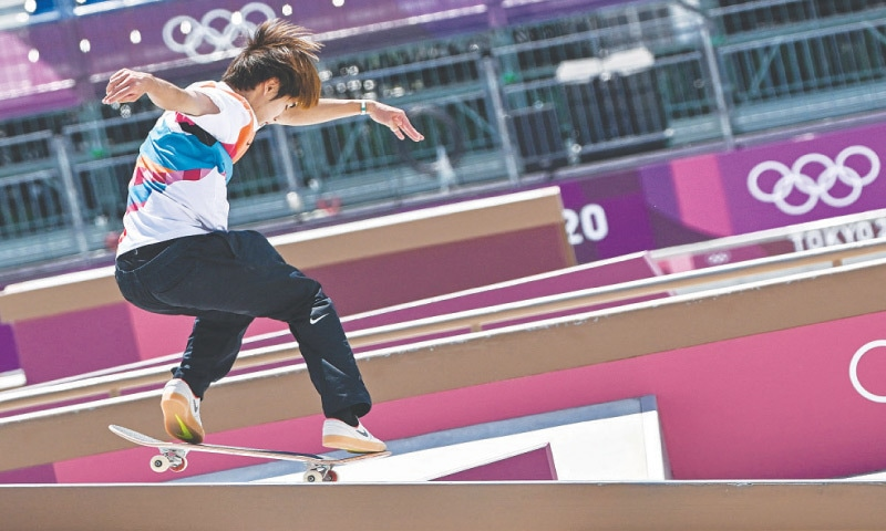 JAPAN'S Yuto Horigome competes in the men's street skateboarding final at the Ariake Sports Park on Sunday.—AFP
