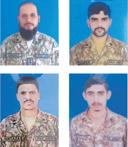 (Clockwise) Subedar Liaqat Ali, Sepoy Muhammad Zameer, Sepoy Sultan Mehmood and Sepoy Murtaza Ahmed.
