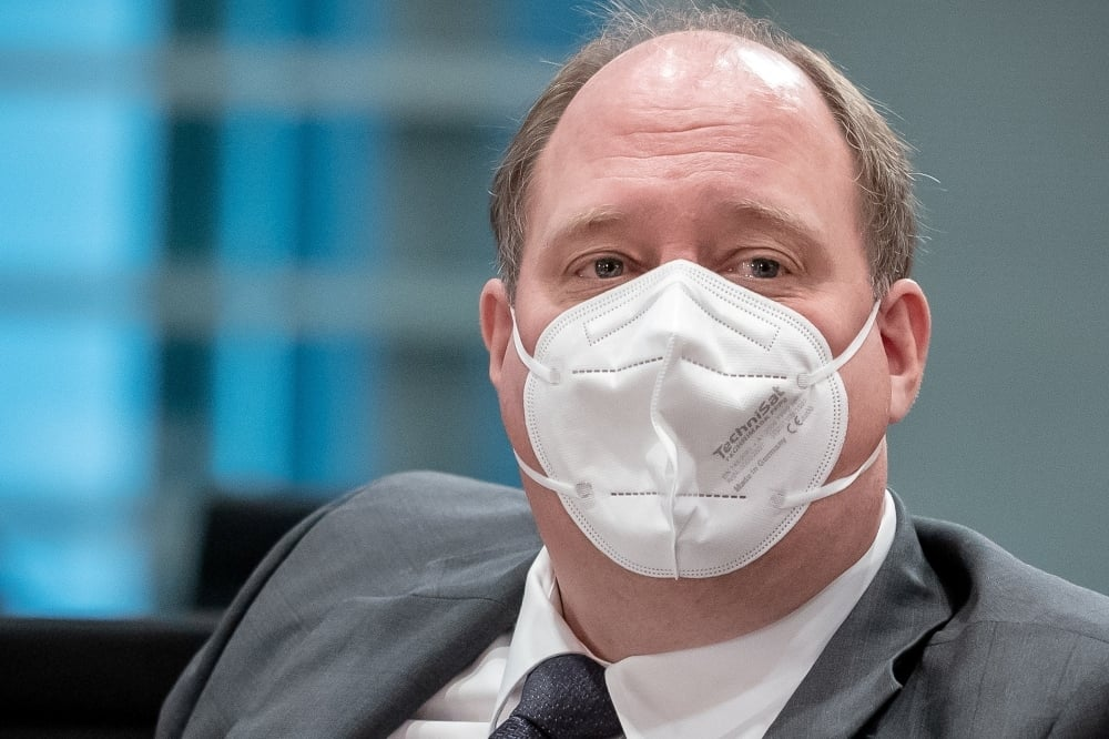 German Chancellery's Chief of Staff Helge Braun wears a protective face mask before the weekly cabinet meeting of the German government at the chancellery in Berlin on March 3. — Reuters