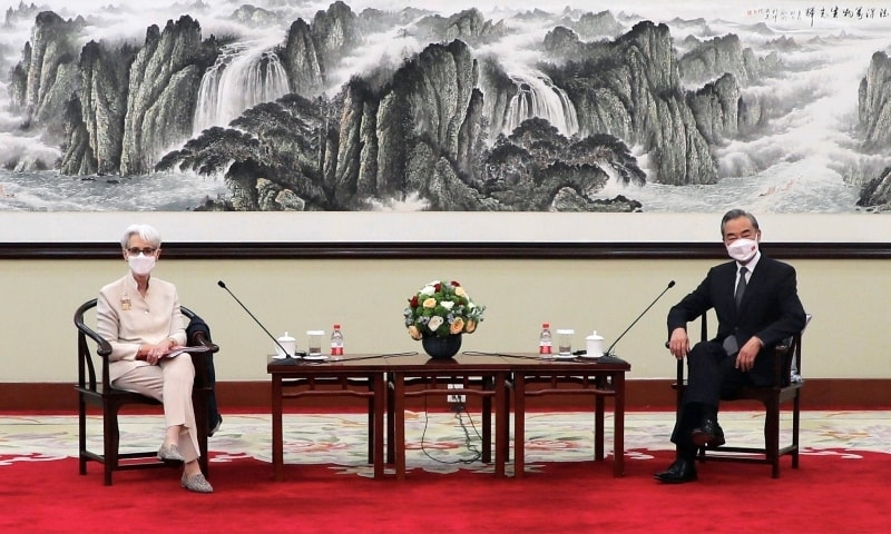 US Deputy Secretary of State Wendy Sherman meets Chinese State Councilor and Foreign Minister Wang Yi in Tianjin. — Reuters