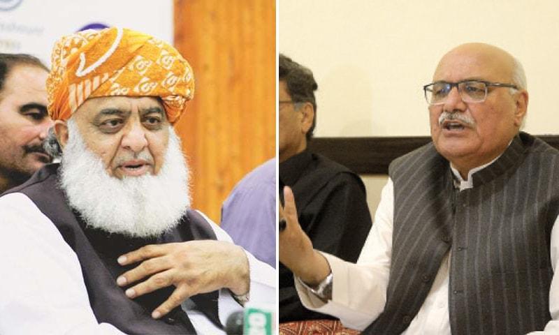 A combination photo of JUI-F chief Maulana Fazlur Rehman (L) and ANP Central Secretary General Main Iftikhar Hussain (R). — DawnNewsTV/File