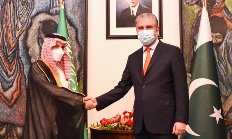 Saudi Foreign Minister Faisal Bin Farhan Al Saud shakes hand with Foreign Minister Shah Mahmood Qureshi. – Photo courtesy Foreign Office Twitter