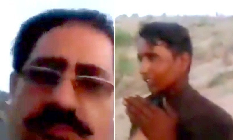 In this screengrab from a video of the incident, the Hindu man (right) is seen pleading to the suspect (L). — DawnNewsTV