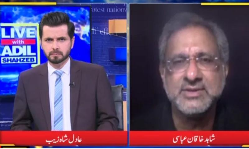 PML-N leader Shahid Khaqan Abbasi speaks on DawnNewsTV show Live with Adil Shahzeb. — DawnNewsTV