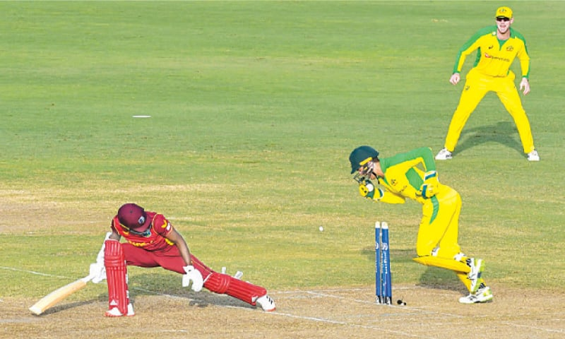 AKEAL Hosein of the West Indies is stumped by Australian wicket-keeper Alex Carey off the bowling of Adam Zampa during the third ODI at the Kensington Oval.—AFP