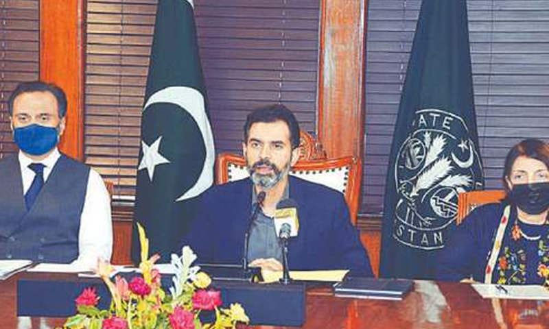 SBP Governor Dr Reza Baqir speaking at the press conference.—APP