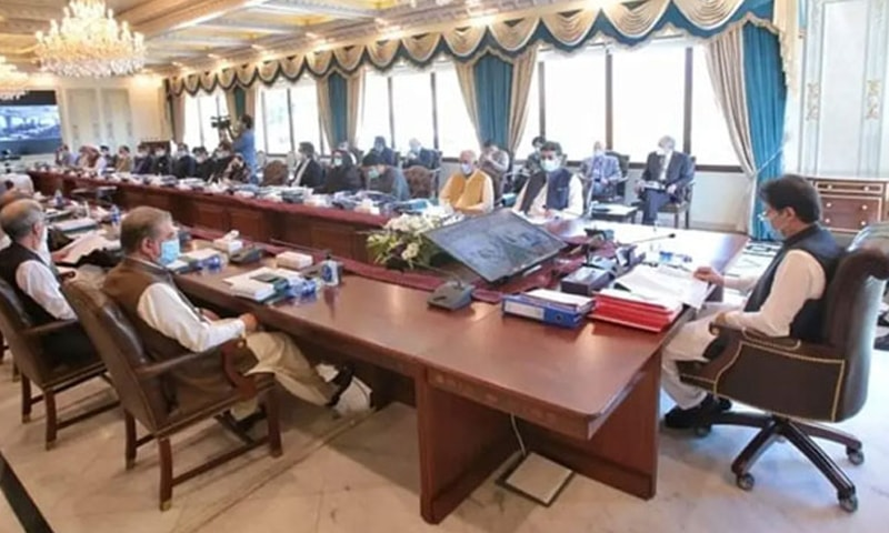 Prime Minister Imran Khan presides over a cabinet meeting on Tuesday. — Photo courtesy Ministry of IT Twitter