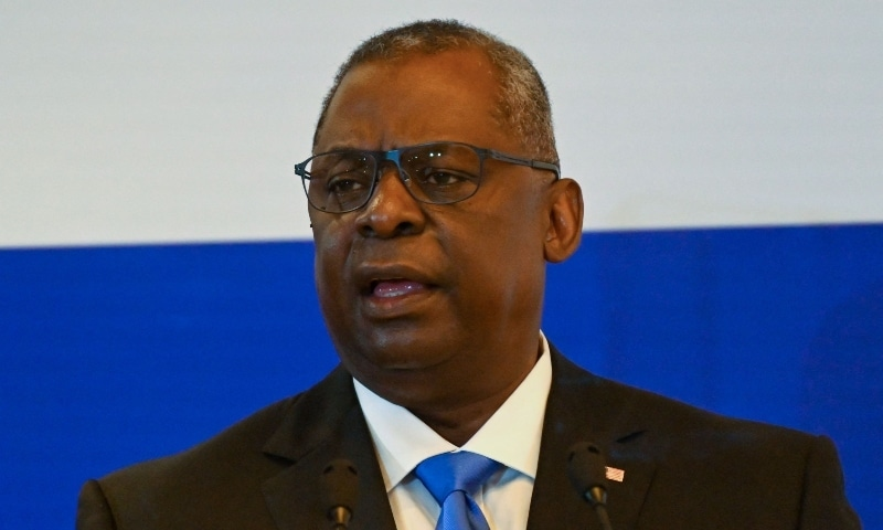 US Secretary of Defense Lloyd Austin speaks during the 40th International Institute for Strategic Studies (IISS) Fullerton lecture in Singapore on July 27. — AFP