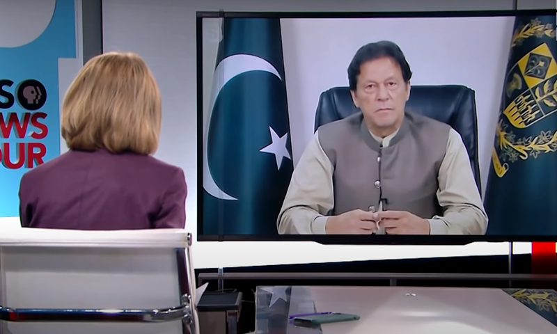 PM Imran Khan during his appearance on PBS NewsHour opposite Judy Woodruff. Photo: PBS NewsHour/YouTube