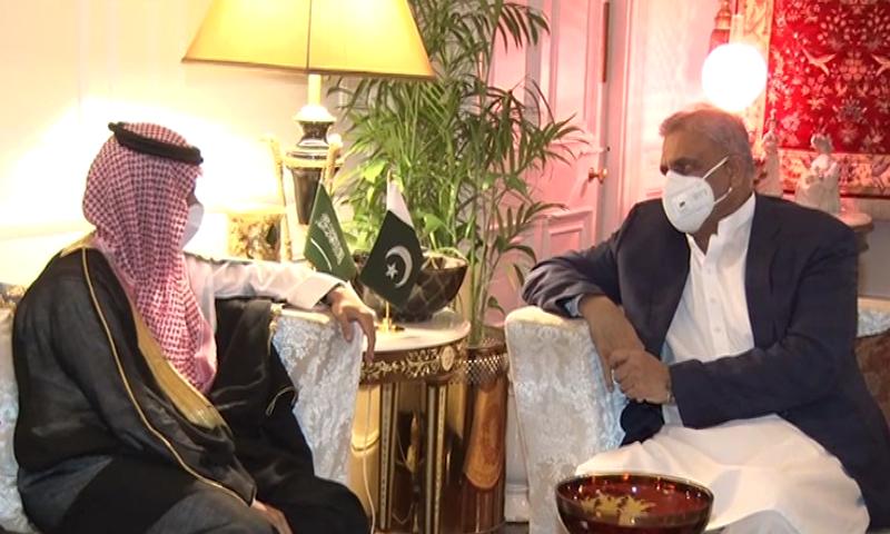 Saudi Foreign Minister Prince Faisal Bin Farhan Al Saud calls on Chief of Army Staff General Qamar Javed Bajwa in Rawalpindi. — DawnNewsTV