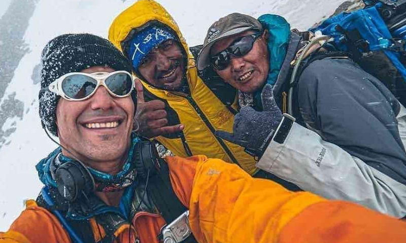 From left to right: Canadian filmmaker Elia Saikaly, Sajid Sadpara and Nepal's Pasang Kaji Sherpa are seen during their expedition. — Elia Saikaly Instagram