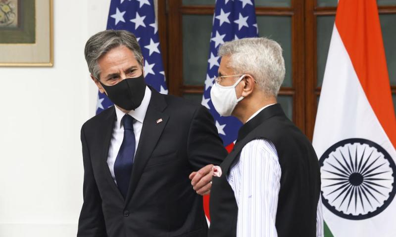 India's Foreign Minister Subrahmanyam Jaishankar, right, welcomes US Secretary of State Antony Blinken at Hyderabad House in New Delhi, India on Wednesday. — AP