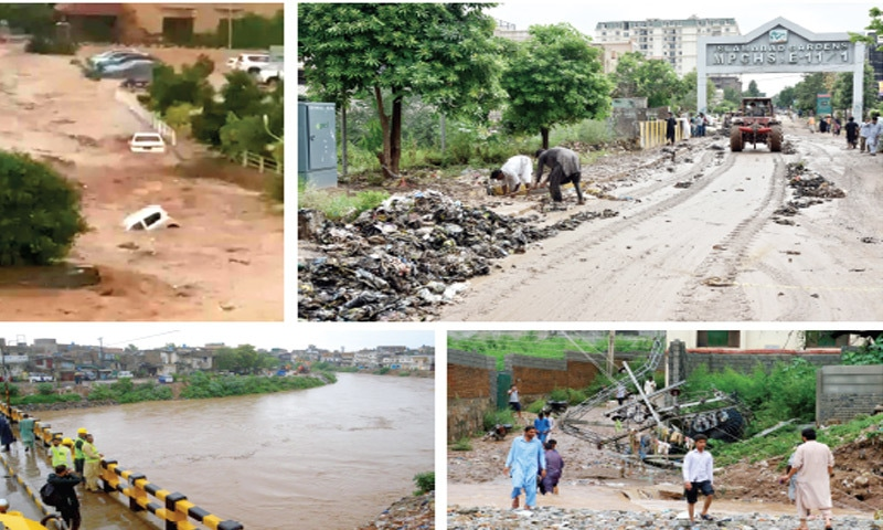 (Clockwise from top) Vehicles being swept away by the flash floods in E-11, sanitary workers clear waste from a road left behind by the gushing water, people walk past a fallen transformer while local administration officials monitor Leh Nullah from the Gawalmandi bridge in Rawalpindi on Wednesday. — Photos by Tanveer Shahzad & Mohammad Asim