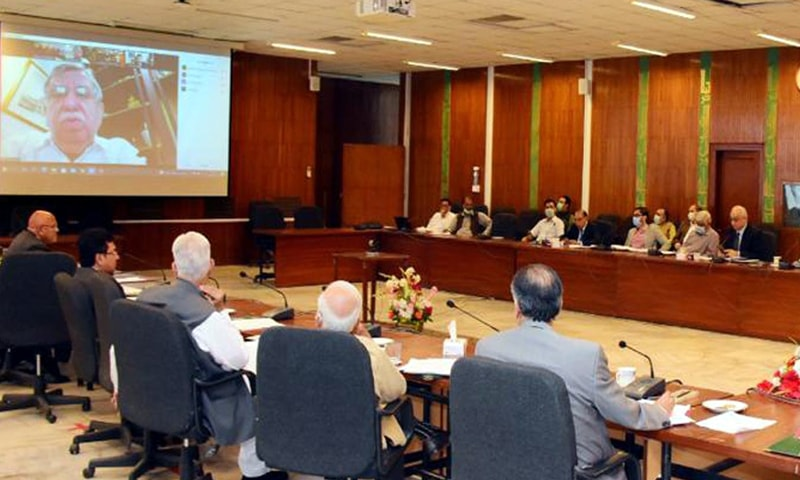 Finance Minister Shaukat Tarin addresses the ECC meeting via a video link on Wednesday. — APP