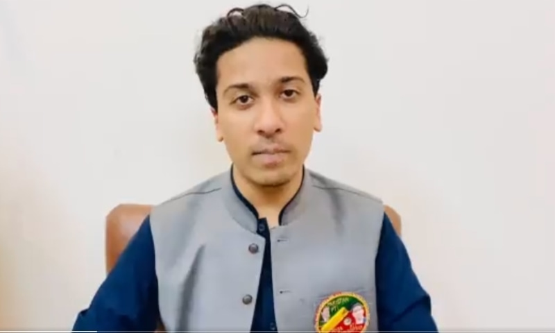 This photo shows PTI candidate Chaudhry Ahsan Saleem Baryar. — Screenshot courtesy: PTI Twitter