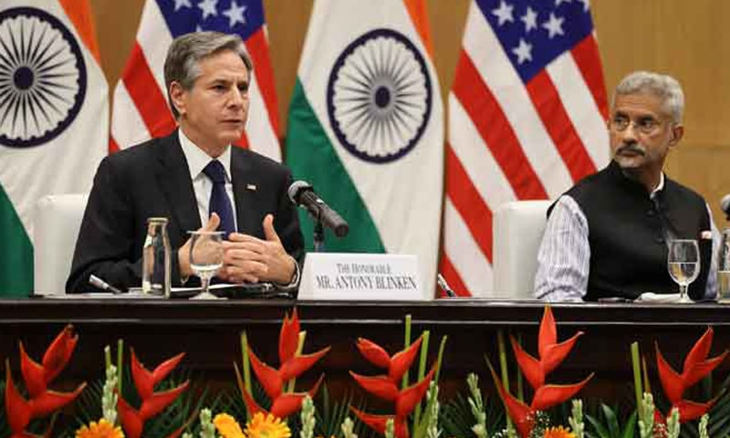 India's Minister of External Affairs Subrahmanyam Jaishankar (R) and US Secretary of State Antony Blinken hold a joint news conference at Jawaharlal Nehru Bhawan in New Delhi. — AFP