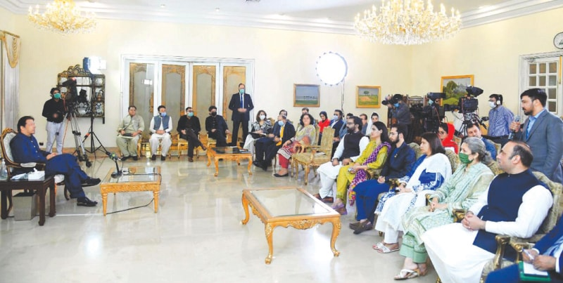 PRIME Minister Imran Khan speaks to a delegation of Pak-Afghan Youth Forum during an interactive session.