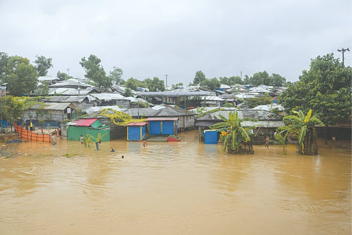 A VIEW of inundated shelters after heavy rains at a Rohingya refugee camp in Kutupalong, Bangladesh.—AP