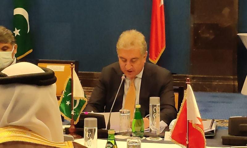 اجلاس میں پاکستان اور بحرین کے وزرائے خارجہ نے اپنے اپنے وفود کی سربراہی کی —تصویر: شاہ محمود ٹوئٹر