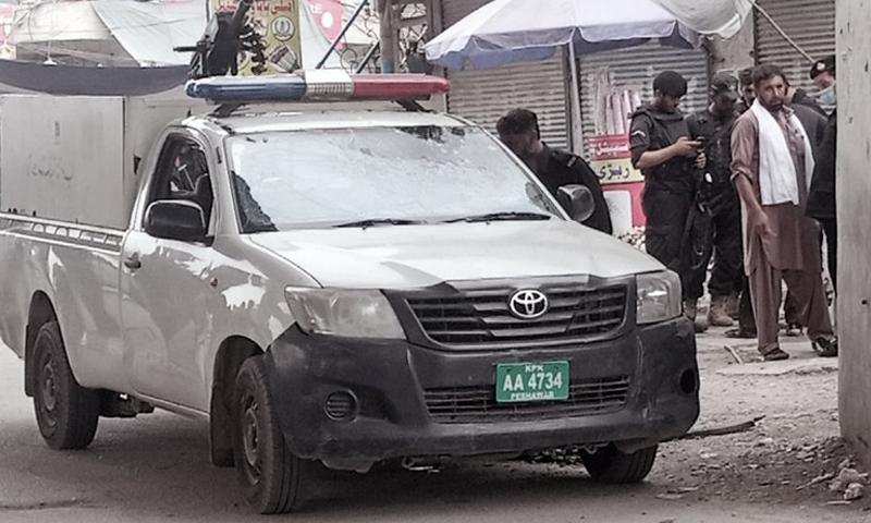 The photo shows the site of the blast in Peshawar's Karkhano Market. — DawnNewsTV