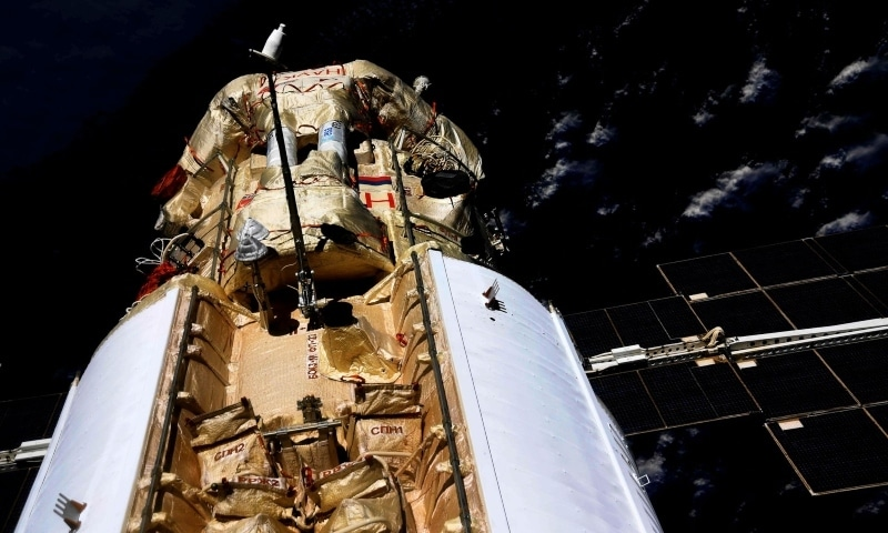 The Nauka Multipurpose Laboratory Module is seen docked to the International Space Station on July 29. — Reuters