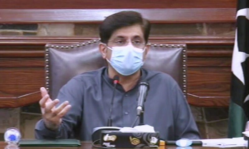 Sindh Chief Minister Murad Ali Shah speaks during a press conference on Friday. — DawnNewsTV