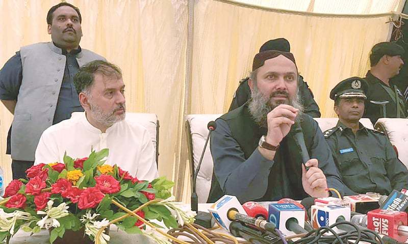 Balochistan Chief Minister Jam Kamal Khan addresses a press conference in this file photo. — PPI