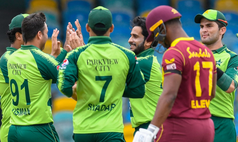 Hasan Ali celebrates with teammates after taking a wicket during Pakistan's match with West Indies on Wednesday. — Photo courtesy ICC Twitter/File