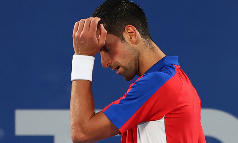 Novak Djokovic of Serbia reacts during his semifinal match against Alexander Zverev of Germany on Friday. — Reuters