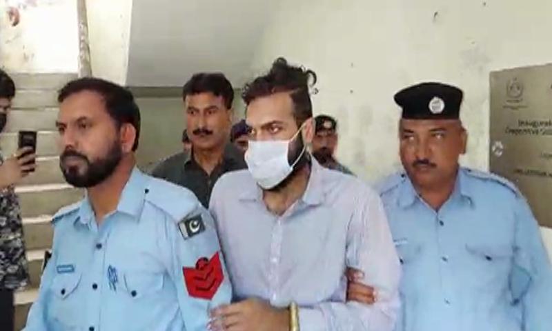 Zahir Jaffer, the alleged killer of former diplomat's daughter Noor Mukadam, is brought to a court in Islamabad. — DawnNewsTV