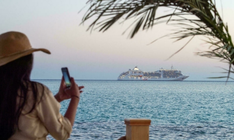 A cruise ship is seen at sea off Saudi Arabia's west coast, in this file picture from October 3, 2020. —  AFP