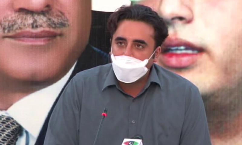 پاکستان پیپلز پارٹی کے چیئرمین بلاول بھٹو زرداری اسلام آباد میں میڈیا سے گفگو کررہے ہیں— فوٹو: ڈان نیوز