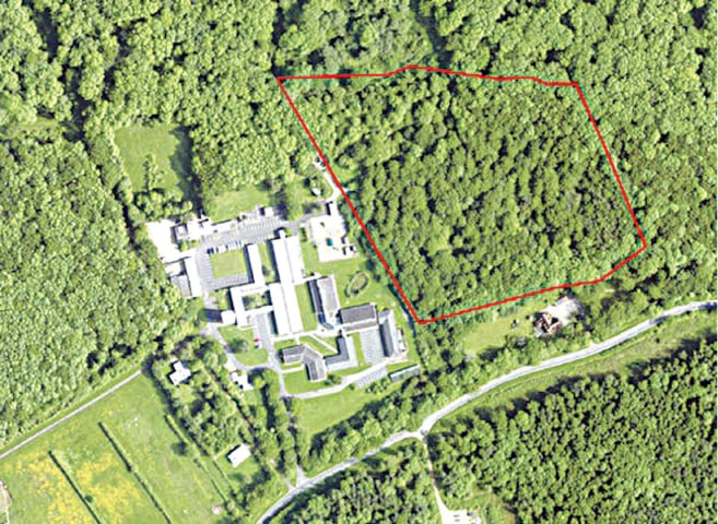 The Monks Wood Wilderness outlined in red