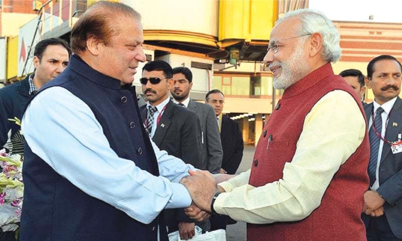 Former Pakistani prime minister Mian Nawaz Sharif meets his Indian counterpart Narendra Modi in Lahore in Dec 2015 | Dawn file photo