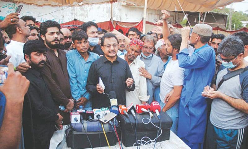HALEEM Adil Sheikh speaks to the media in Hyderabad on Sunday.—PPI