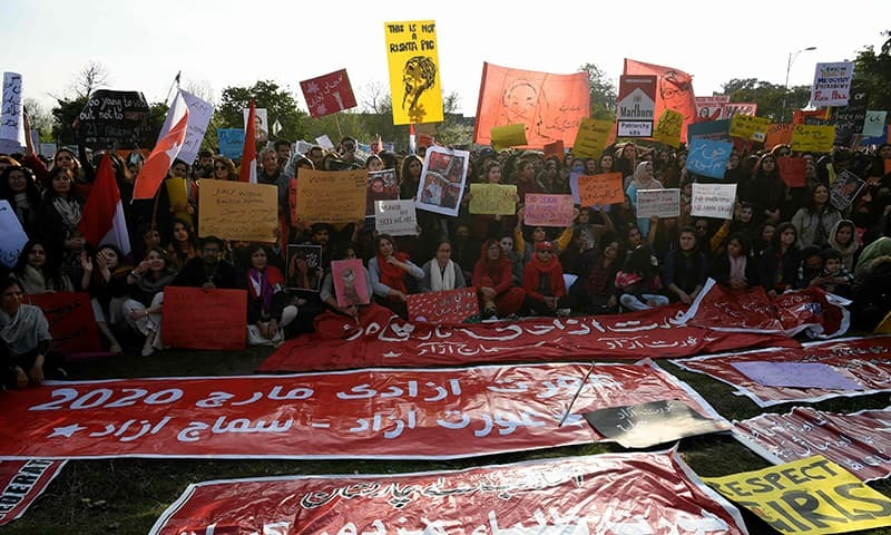 In this file photo, activists of the Aurat March hold placards during a rally to mark International Women's Day in Islamabad on March 8, 2020. — AFP/File